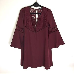 SHEIN Red Bell Sleeves Lace Tunic Mini Dress Large